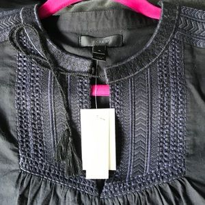 NWT j Crew embroidered peasant blouse S